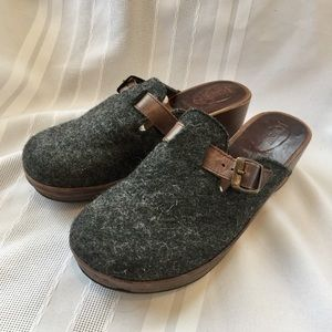 J.Crew Wool Leather and Wood Mules